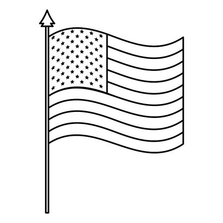 united states of america flag in pole vector illustration design
