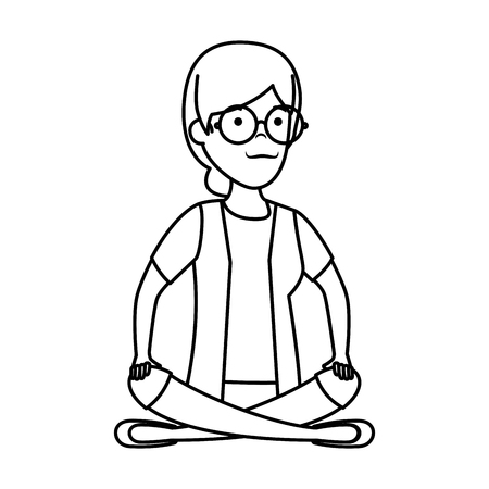 old woman in lotus position character vector illustration design Çizim