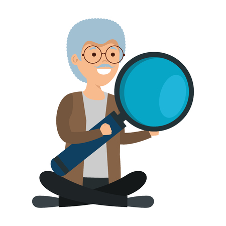 old man in lotus position with magnifying glass vector illustration design