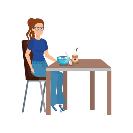 young woman eating in table vector illustration design Banque d'images - 123940049