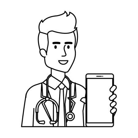 professional doctor with smartphone telemedicine vector illustration design