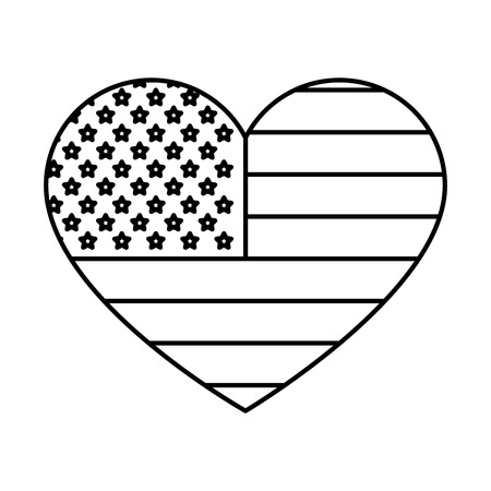 heart with united states of america flag vector illustration design