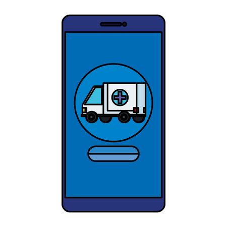 smartphone with ambulance telemedicine service vector illustration design