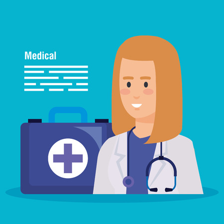 woman doctor with stethoscope and first aid vector illustration Illustration