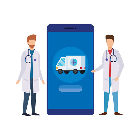 doctors with smartphone and ambulance service vector illustration design