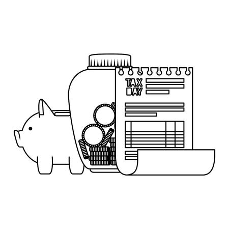 tax day business icons vector illustartion design Illustration