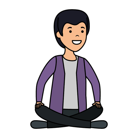 young and casual man with lotus position vector illustration design Foto de archivo - 123870965