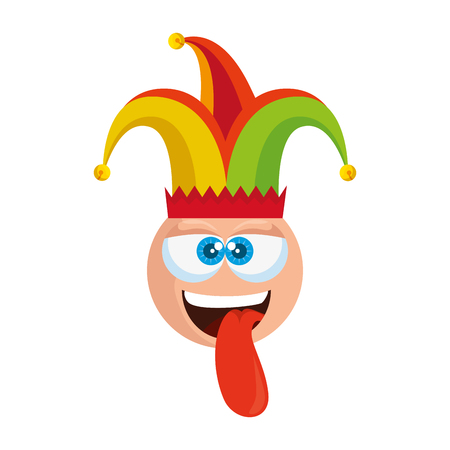 crazy emoticon face with jester hat fools day vector illustration design Stock Vector - 123871064