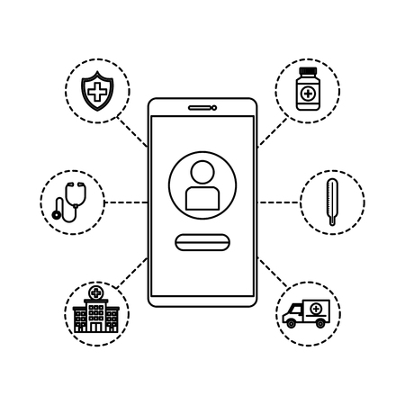 smartphone with telemedicine icons vector illustration design Illustration