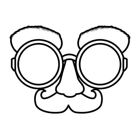 Fools day masque lunettes et moustache vector illustration design
