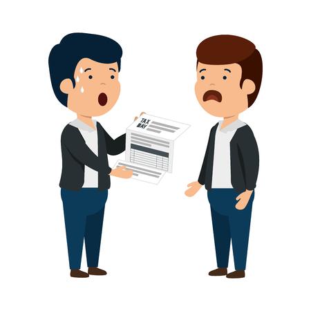 depressed men for money with tax document vector illustration design Stok Fotoğraf - 123871111