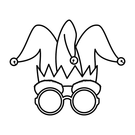 jester hat and glasses fools day icon vector illustration design