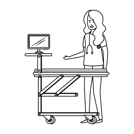 female surgeon with monitor in stretcher vector illustration design Illustration