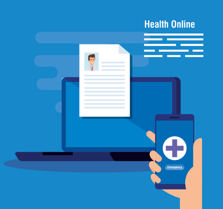 laptop technology with doctor document and smartphone vector illustration