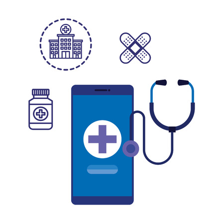 smartphone with medical cross and telemedicine icons vector illustration design