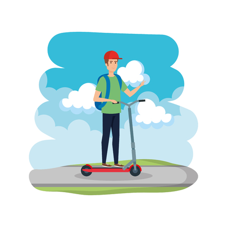 young man in folding scooter on road vector illustration design