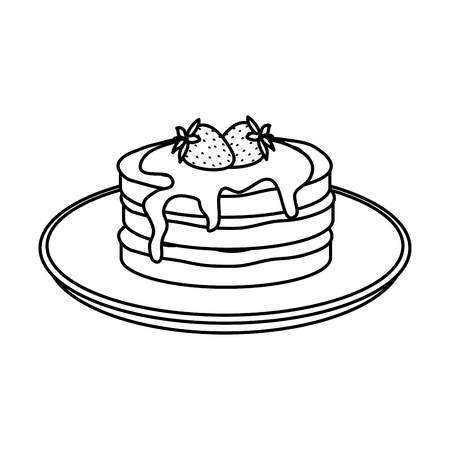 pancakes with chocolate cream and strawberries vector illustration design Vector Illustration