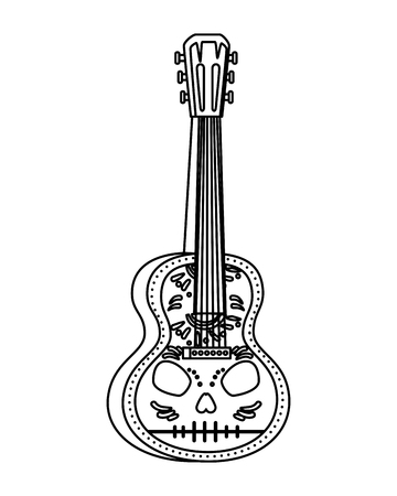 acoustic mexican guitar with skull paint vector illustration design Illustration