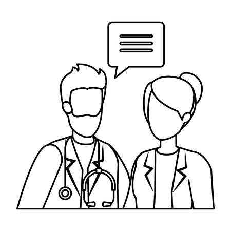 couple of professionals doctors talking vector illustration design