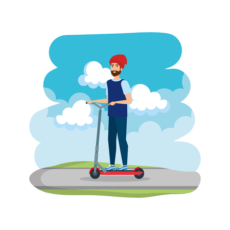 young man in folding scooter on road vector illustration design Imagens - 123873684