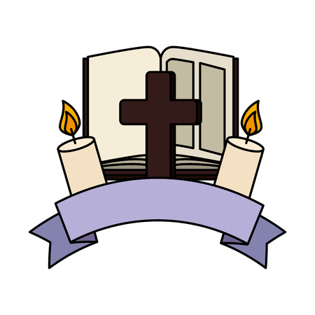 holy bible with cross and candle vector illustration design