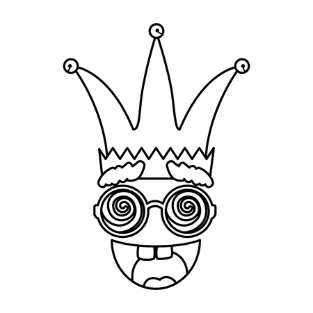 jester hat with glasses and smile fools day icon vector illustration design