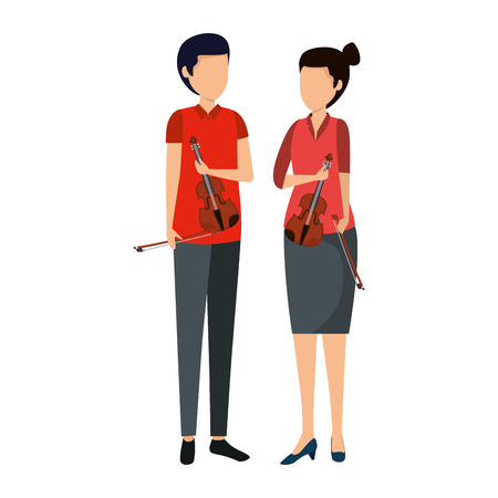 professional couple violinists characters vector illustration design