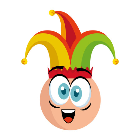 crazy emoticon face with jester hat fools day vector illustration design Vecteurs
