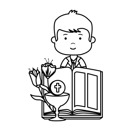 little boy with bible and flowers first communion character vector illustration design