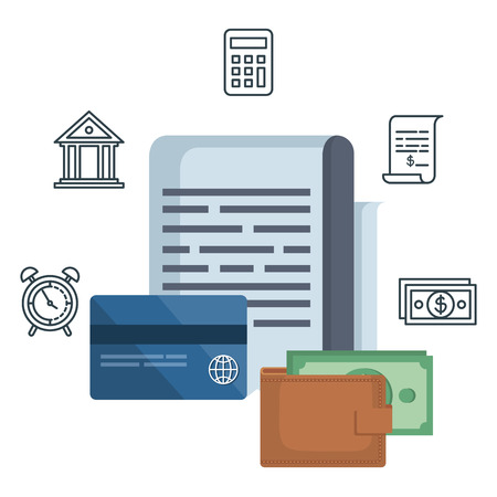 tax document with financial icons vector illustration design Foto de archivo - 120442251