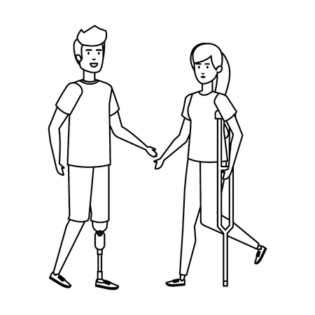 woman in crutches and man with prosthesis vector illustration design