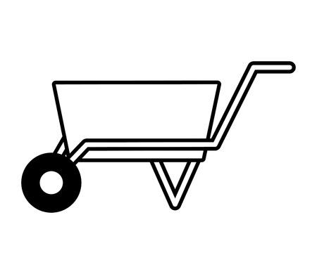 wheelbarrow construction tool on white background vector illustration design  イラスト・ベクター素材