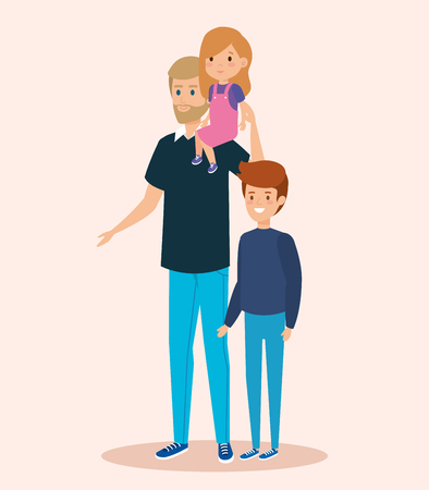 happy man carrying his daughter and son vector illustration