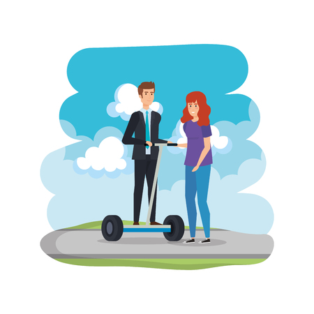 young couple in folding e-scooter on the road vector illustration design