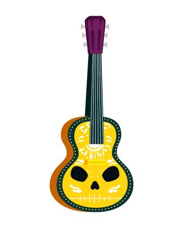 acoustic mexican guitar with skull paint vector illustration design Illusztráció