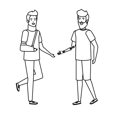 man helping person with orthopedic collar and plastered arm vector illustration