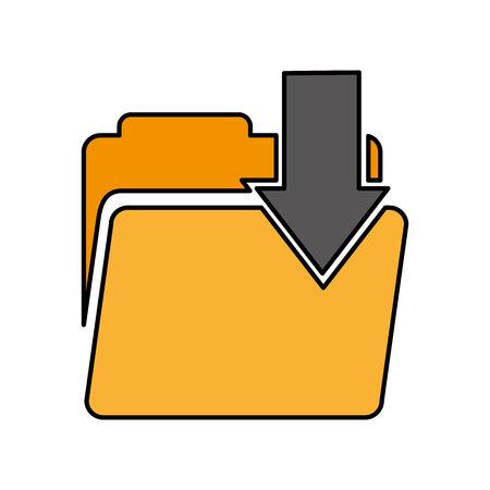 Ordner mit Pfeil-Download-Vektor-Illustration-Design
