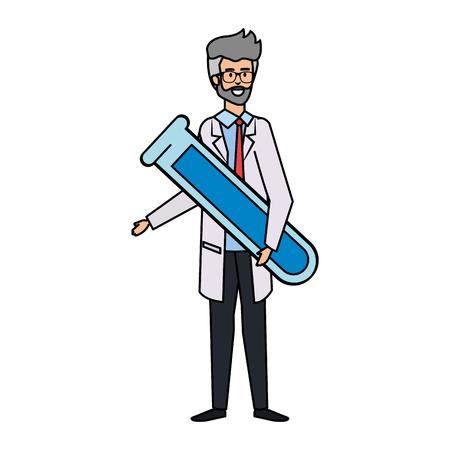 Médico profesional con tubo de prueba avatar ilustración Vectorial character design Ilustración de vector