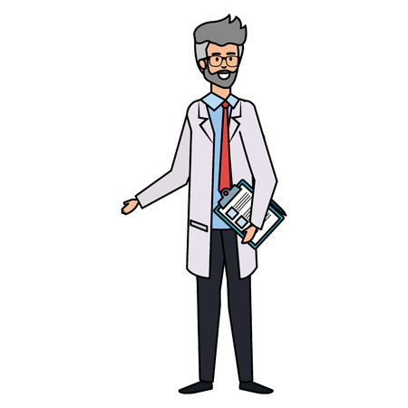professional doctor with checklist avatar character vector illustration design Illustration