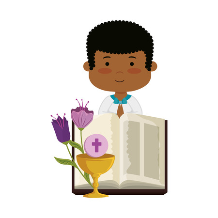 little black boy with bibble and flowers first communion character vector illustration Banque d'images - 120459934