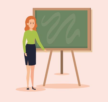 woman teacher with blackboard and blouse with skirt vector illustration