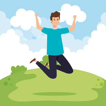 happy man jumping with casual clothes vector illustration