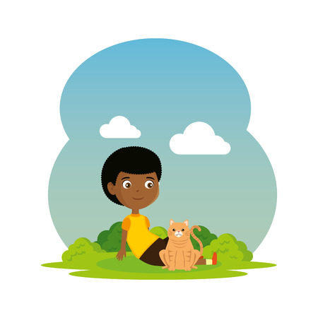 cute little black boy with kitty in the landscape vector illustration design