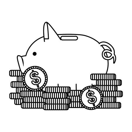 piggy money savings with coins vector illustartion design
