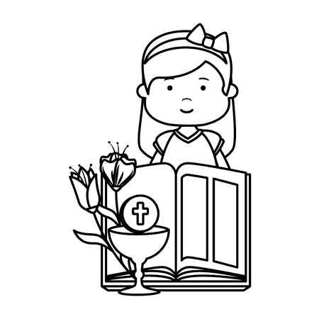 little girl with bible and flowers first communion vector illustration design