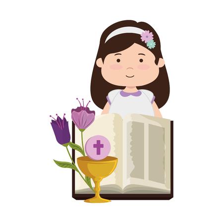 kleines Mädchen mit Bibel und Blumen Erstkommunion Vektor-Illustration Design