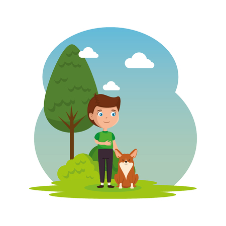 cute little boy with dog in the landscape vector illustration design