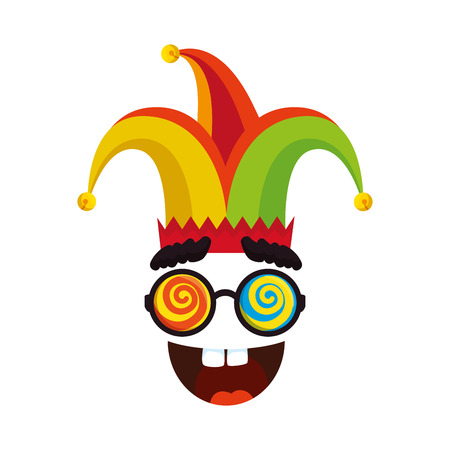 jester hat with glasses and smile fools day icon vector illustration design Stock Vector - 123874271