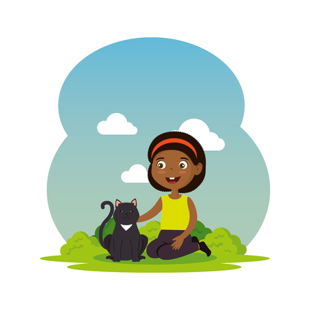 cute little black girl with kitty vector illustration design