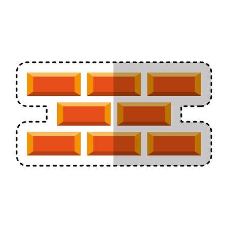bricks wall construction icon vector illustration design